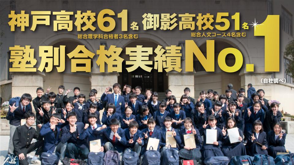 神戸高校61名、御影高校51名、塾別合格実績No.1